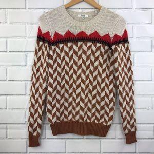 Madewell Geometric Crewneck Knit Sweater XS